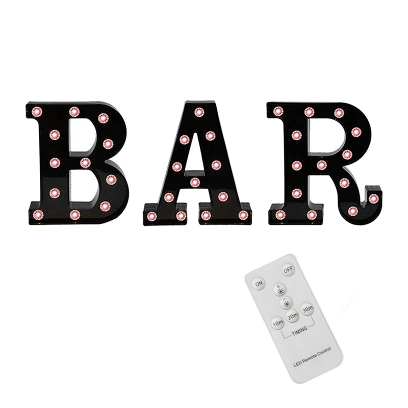 Black BAR Marquee Letters with Lights, Light Up Letters Marquee Signs Remote Control Desk Table Lamp for Bar, Pub,Party Decor