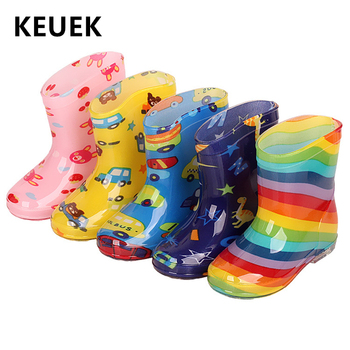 新しい子供レインシューズ PVC Mid ふくらはぎベビー Rainboots キッズゴム靴少年少女防水抗滑りやすい水ブーツ 043