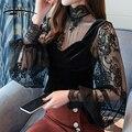 Новый , летняя мода твердых женщин блузки рубашки O-воротник кружева с плеча волнистые гофрированные рукава шифон рубашку тонкий Топ 0642 - фото