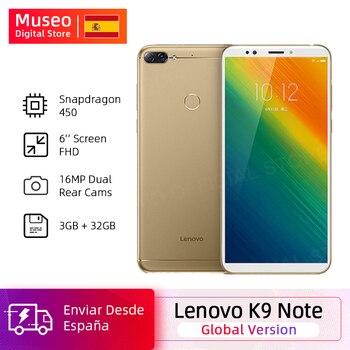 Купить Глобальная версия смартфона Lenovo K9 Note, 3G, 32G, 6,0 дюйма, Восьмиядерный процессор Snapdragon 450, Android 8,1, камера 16 МП, 3760 мАч