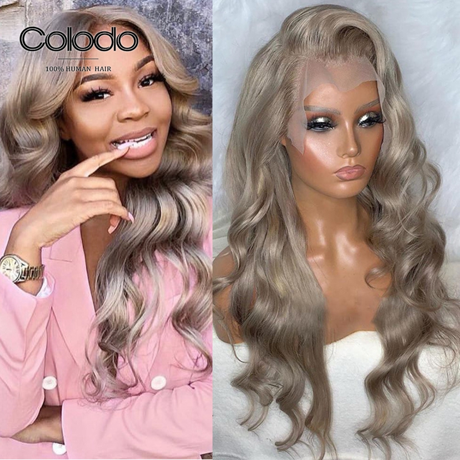 COLODO Brazilian Remy Orange Red Human Hair Wig Glueless Full Lace Ash Blonde Wig Transparent Lace Front Wigs With Baby Hair