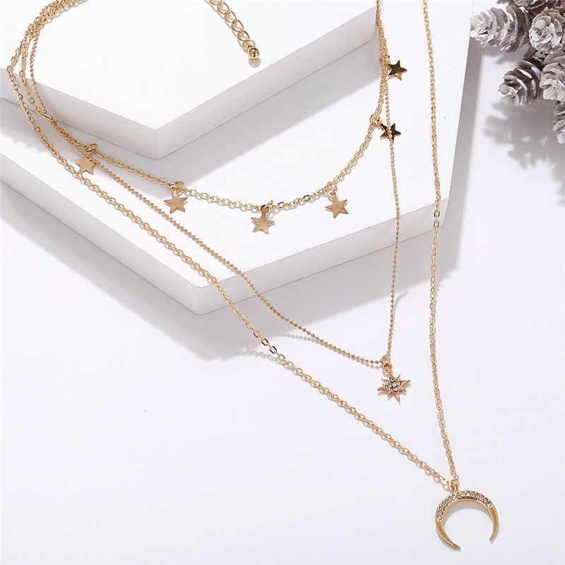 Vintage Multilayer Kristall Anhänger Halskette Frauen Gold Farbe Mond Sterne Horn Crescent Choker Halsketten Schmuck Geschenk