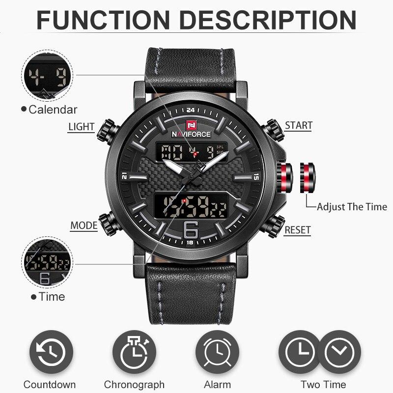 NAVIFORCE Топ люксовый бренд военные кварцевые мужские часы LED Дата аналоговые цифровые часы мужские модные спортивные часы Relogio Masculino
