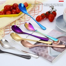 Mini Tea Spoon Stainless Steel Cutlery Set Unique Rainbow Dessert Spoon Gold Tea Spoons Small Coffee Spoon Scoop 1Pc(China)