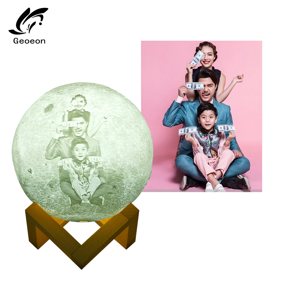 Geoeon Custom 3D Printing Moon Light Remote Control 16 Color USB Charging Bedroom Table Night Light Decoration Home D501