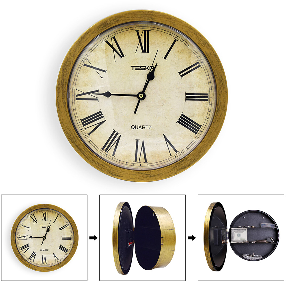 Retro Jewelry Storage Home Vintage Watch Pointer Clock Secret Security Office Wall Hanging Safety Box Cash