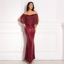 Sequined patchwork tassel burgundy maxi dress evening party slash neck off the shoulder long