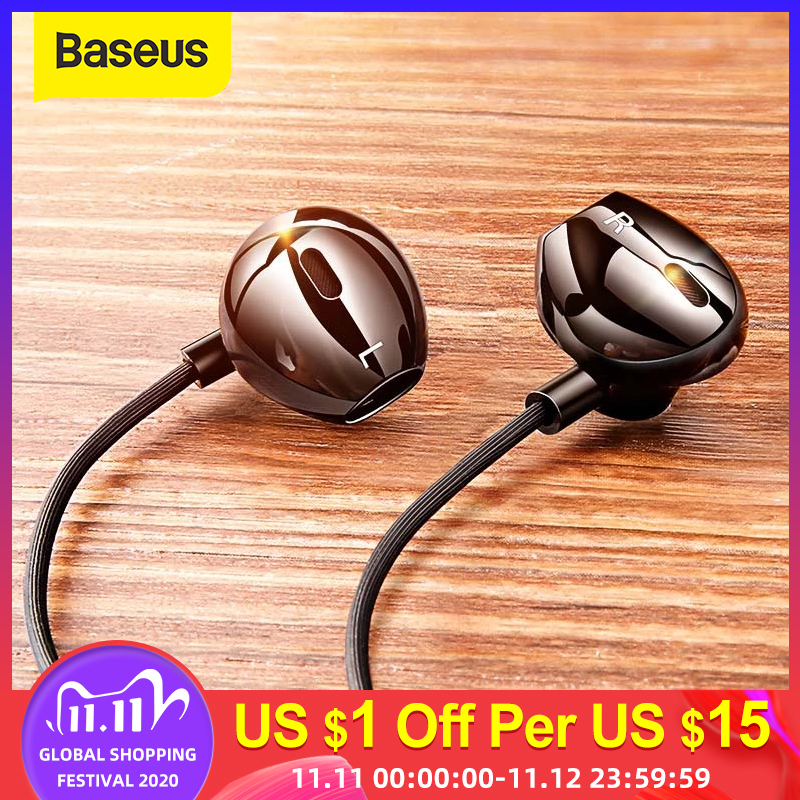 Baseus C06 Wired Earphone Type C Bass Stereo Earbuds with Mic Sport Headset 3 5mm Jack for iPhone Samsung In-ear Earphone Wired