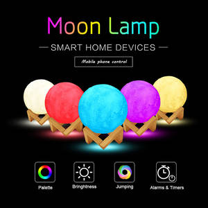 with Stand LED 3D Printing Moon Light Lamp Night Light Link APP Wifi 16 Colors Tapping Control Decorative Lamp Christmas Gifts