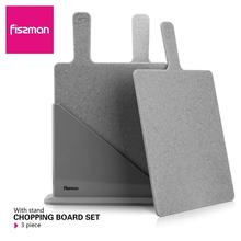 Fissman Cutting Board Plastic Mats Non slip Anti Bacterium Chopping Block Set of 3pcs