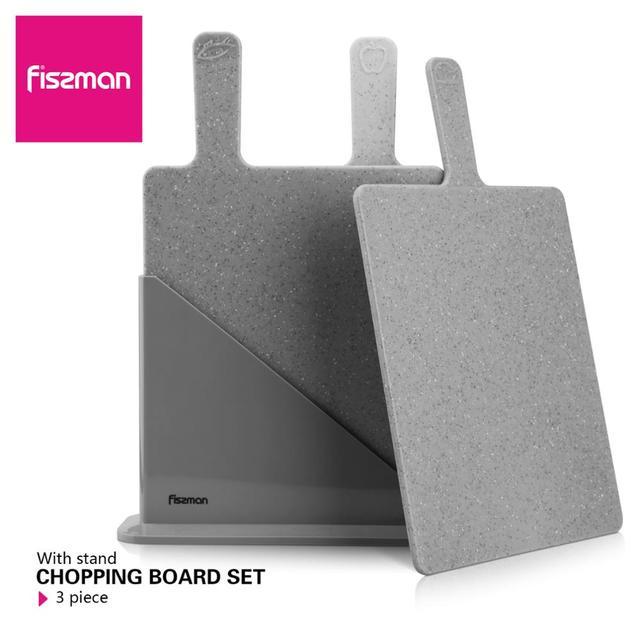 Fissman Cutting Board Plastic Mats Non slip Anti Bacterium Chopping Block Set of 3pcs