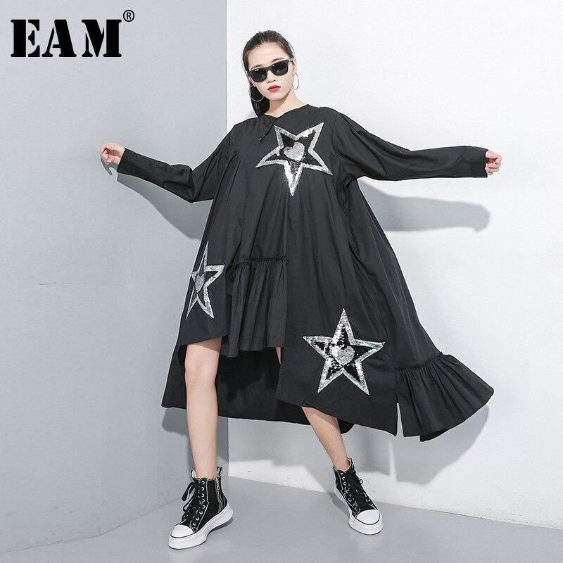 [EAM] Women Pattern Print Split Oversize Dress New Round Neck Long Sleeve Loose Fit Fashion Tide Spring Autumn 2019 1A819