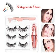 3 Pairs False Eyelashes Magnetic Eye Lashes Eyeliner Eyelash Curler 5 Magnets Makeup Set No Glue Lasting Beauty Tool Kit