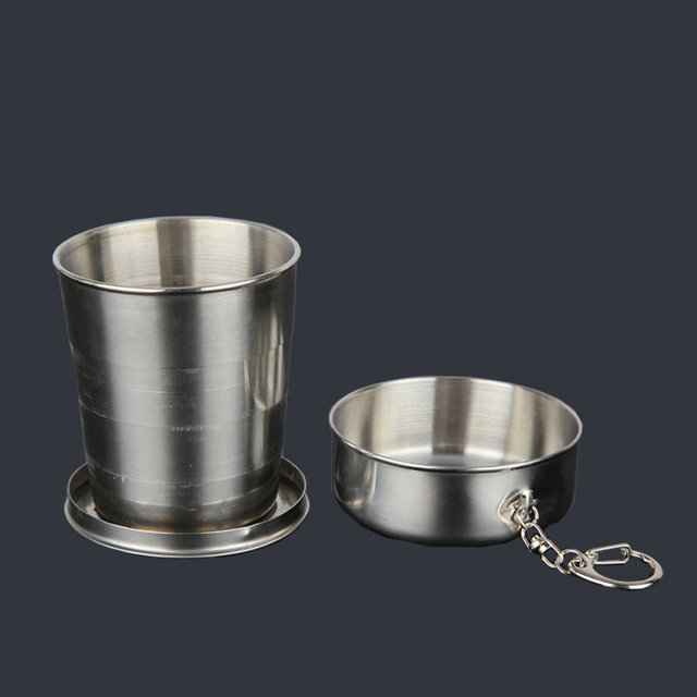 75ml 150ml 250ml Folding Cup Stainless Steel Retractable Collapsible Cups Demountable Portable Outdoor Travel Supplies Keychain 2