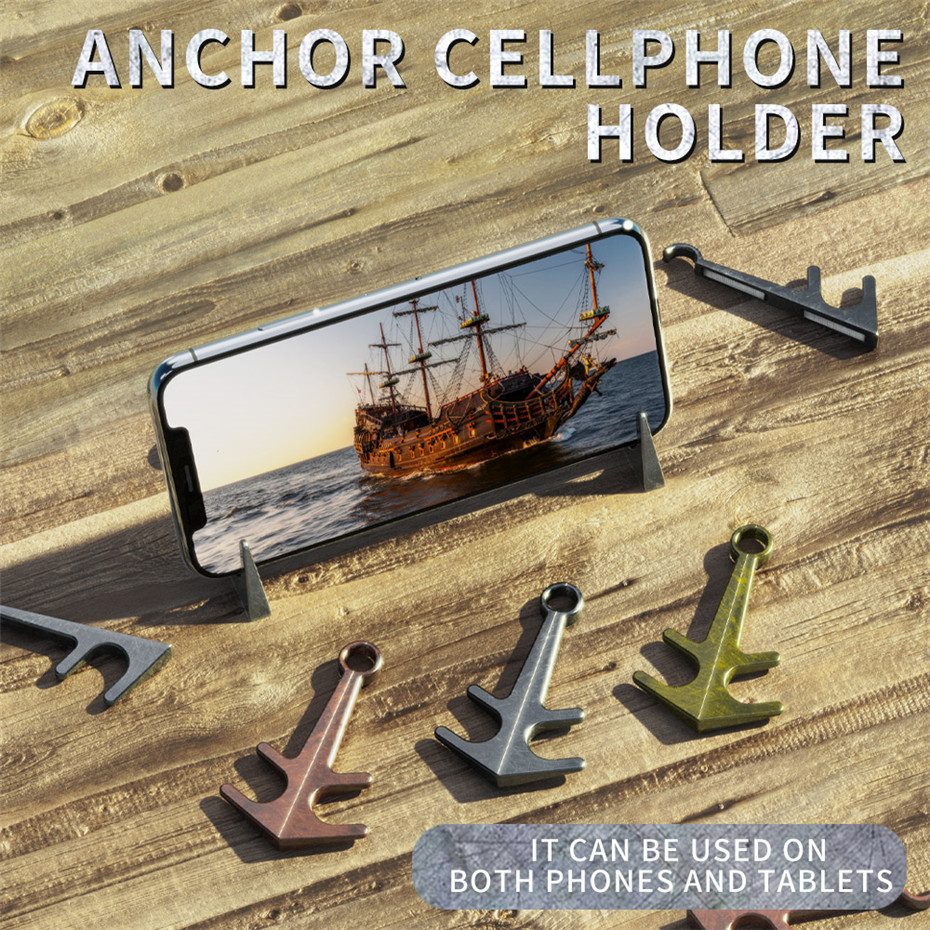 Support Magnet Anchor Desktop Stand Aluminum Alloy Material Silver Anchor Support,Universal Table Phone Holder Cellphone Holder Mount for iPad for Samsung for iPhone for Huawei for Xiaomi