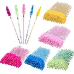 50/100Pcs Crystal Eyelash Brush Disposable Mascara Wands Eyelash Extension Microbrush Eyebrow Applicator Makeup Brush