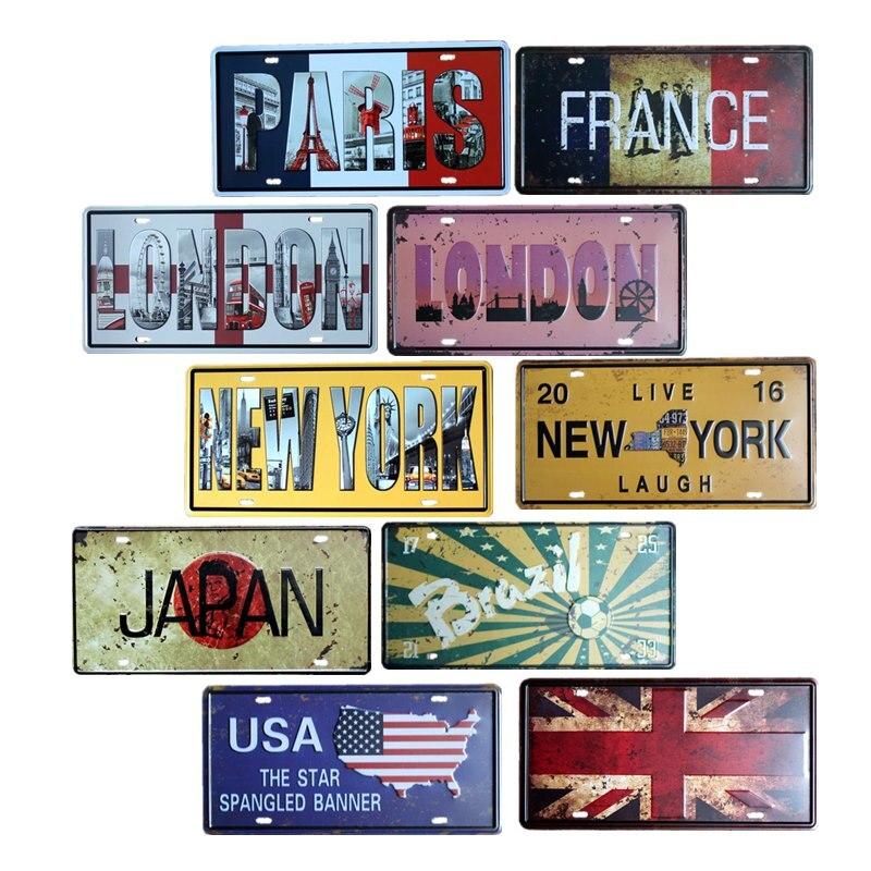 Estados Unidos Japón Canadá Bandera Nacional placas Vintage Metal signos pared decoración Bar Pub Club Decorative15x30cm Candelabro hueco de Metal, vela artesanal, luz de té, decoración del hogar, candelero marroquí, candelabro, decoración de boda
