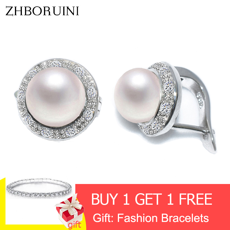 ZHBORUINI 925-Sterling-Silver Jewelry Stud-Earring Natural-Freshwater-Pearl Women New