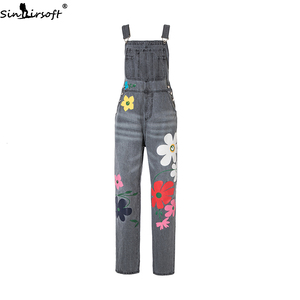 Image 2 - Plus Size 5XL Jeans Women Florals Printing Denim Jumpsuits Rompers Female Slim Suspender Trousers Women Loose Overalls Jumpsuit