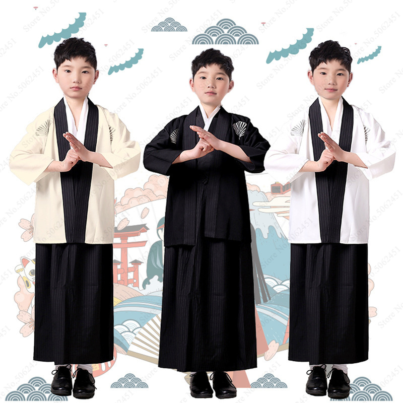 Kids Boy Traditional Japanese Samurai Kimono Robes Cosplay Costume Children Warrior Clothing Set Yukata Aodai Gown Japan Clothes