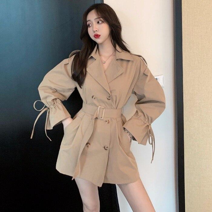 Long-sleeved Trench Coat Women's Short New Korean Loose Loose Overalls Coat Waist