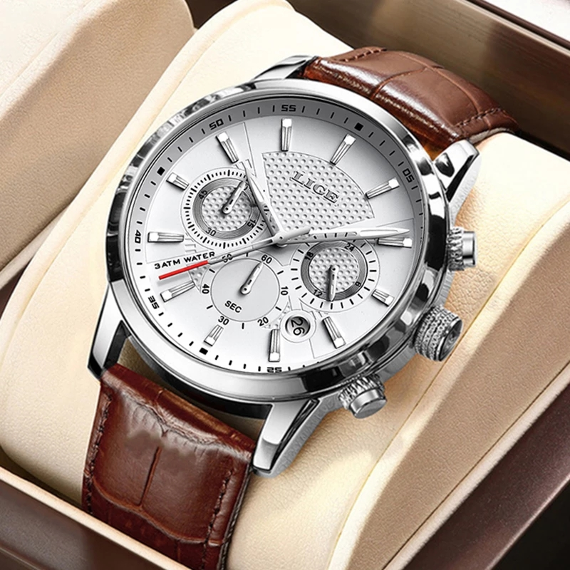2021 New Mens Watches LIGE Top Brand Leather Chronograph Waterproof Sport Automatic Date Quartz Watch For Men Relogio Masculino 6
