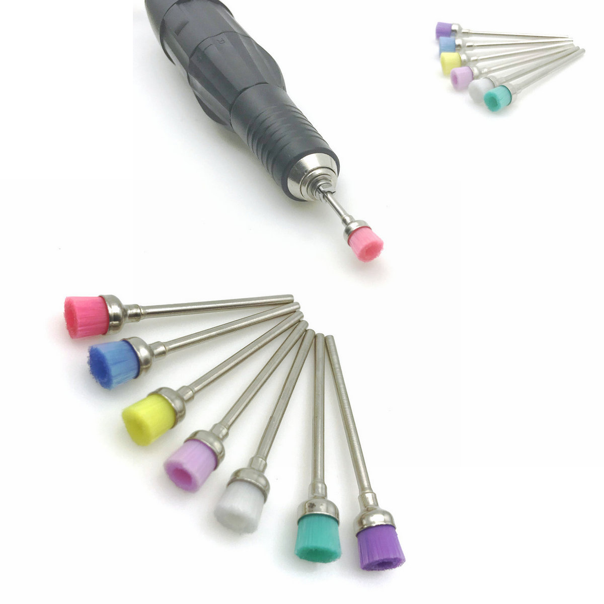7pcs Dental Nail Art Drill Bit Cleaning Brush Dental Colorful Bowl Polisher Brush Manicure Accessories Brush Tools