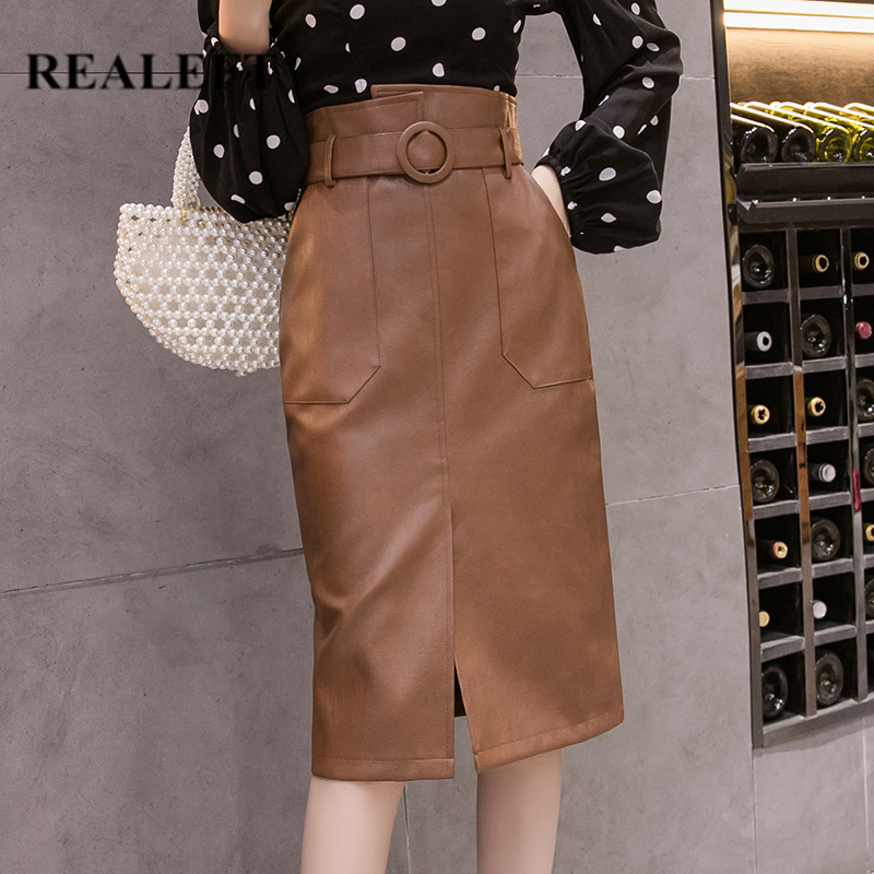 REALEFT Autumn Winter Sashes Women PU Leather Sheath Midi Skirts High Waist Knee-Length Wrap Skirts With Pocket Saia Female