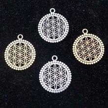 10 pçs flor da vida oco pingente redondo diy retro colar pulseira jóias artesanato fazendo a1