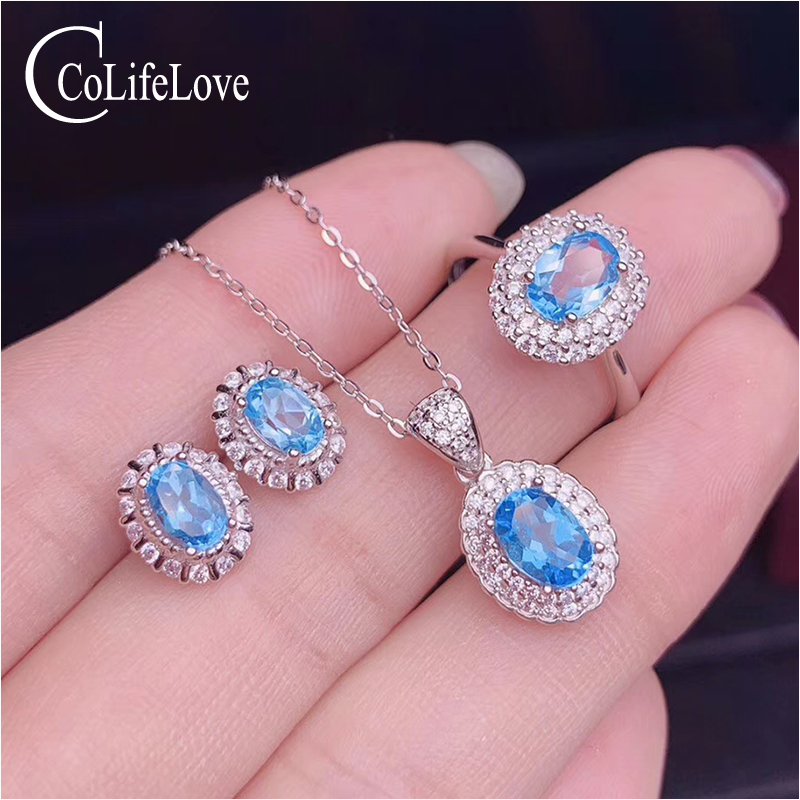 CoLife Jewelry 100% Natural Topaz Jewelry Set for Party 4 Pieces Natural Topaz Jewelry Fashion Silver Jewelry Set