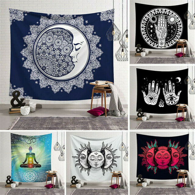 Tapiz cuadrado de poliéster con Mandala de 95x73cm, alfombra colgante para pared, Alfombra de Yoga para decoración de dormitorio y hogar