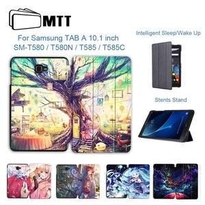 Etui MTT do Samsung Galaxy Tab A A6 10.1 calowy SM-T580 T585 Cartoon Anime PU skórzane etui z klapką stojak na Tablet ochronny Funda