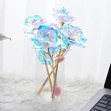 Kolorowe róże walentynki świąteczny prezent urodzinowy róża Luminous folia róże złoto 24K K0F7 tanie tanio Sztuczne Kwiaty Kwiat Oddział
