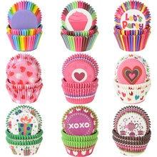 100 pçs muffin cupcake copos de papel forro cupcake baking muffin caixa copo caso bandeja festa bolo decoração ferramentas festa aniversário decoração