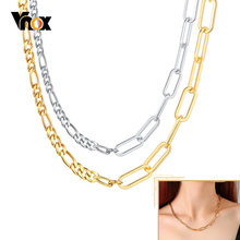 Vnox chaîne colliers pour femmes, Rectangle Rolo trombone lien chaîne, Figaro chaîne collier, minimaliste basique Chic fille bijoux