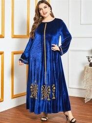Siskakia Velvet Gold Thread Embroidery Maxi Dress Winter 2020 Royal Blue Women O Neck Long Sleeve Modest Muslim Arabic Clothes