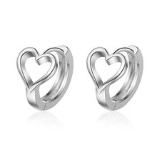 Sunnyyou New Fashion Simple 925 Silver Hollow out Lovely Heart Hoop Earring For Children Girls Women Sweet Earring Korea Jewelry sunnyyou vintage antique silver star asymmetry beer heart drop earrings women personality gothic punk earring korea jewelry