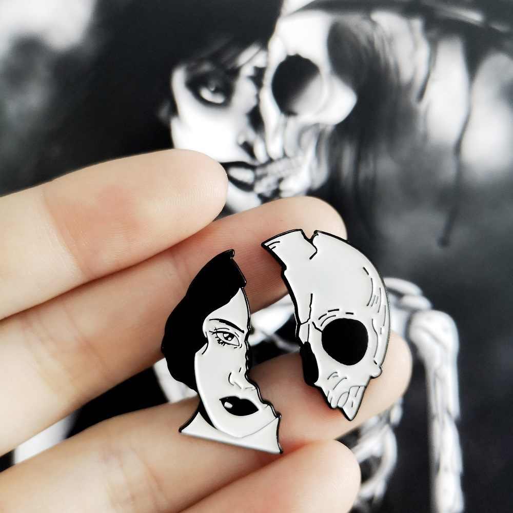 Dibagi Wajah Enamel Pin Organ Otak Jantung Bros Ransel Pakaian Kerah Pin Halloween Lencana Punk Perhiasan Hadiah untuk Teman-teman