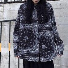 Rosetic Новый Гот Печать Harajuku Женщины Футболка Сверхразмерные Топы Готический Черный Асимметричный Дизайн Блузки Уличный Стиль Свободные Рубашки