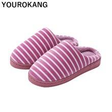 Unisex Winter Family Home Slippers Indoor Bedroom Floor Cotton Slipper Plush Women Flip Flops Striped Household Lovers Shoes