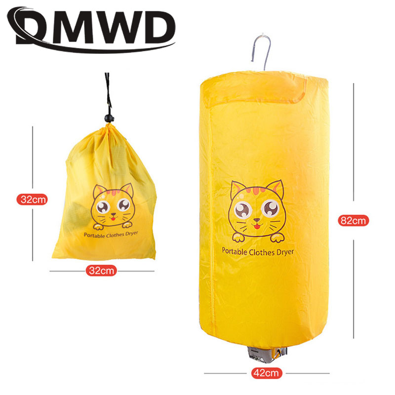 DMWD Portable Electric Clothes Dryer Mini Travel Folding Warm Air Baby Cloth Drying Machine Heater Hanger Laundry Clothing Rack