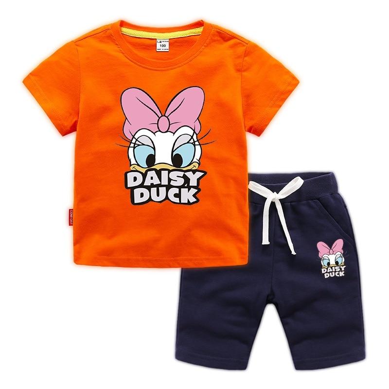 Jargazol Baby Girl Clothes Cartoon Duck Printed Summer Short Sleeve T Shirt&shorts Toddler Boy Vlothign Set Children Outfits 2