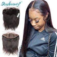 Rosbeleza parte livre cabelo humano laço frontal em linha reta virgem cabelo pré arrancado linha fina com cabelo do bebê 13x4 fechamento frontal do laço
