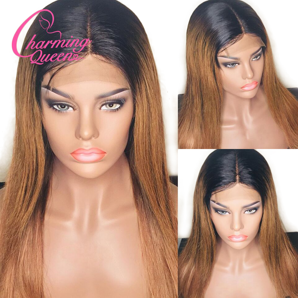 Brazilian Straight Lace Front Human Hair Wigs For Black Women Ombre Color Remy Hair Glueless Pre Plucked 13*4 Lace Wig Baby Hair