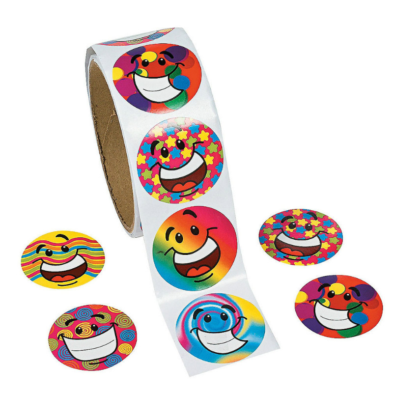 One Roll Creative Adhesive Tape With 100pcs Smiley Emoji Stickers For Kids Great Gift Colorful Stationery Sticker