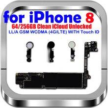 لوحة أم أصلية 100% لهاتف IPhone 8 مع/بدون معرف باللمس لوحة رئيسية مفتوحة لهاتف iphone 8 IOS لوحة منطقية للنظام