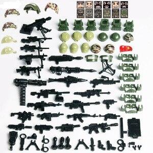 Image 2 - Figuras de bloques de construcción de soldado de camuflaje de la fuerza SWAT, bloques de construcción militares, figuras de bloques, regalo, 6 uds.