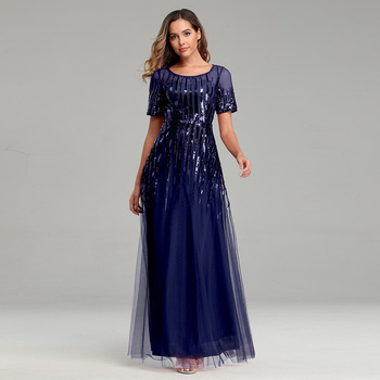 Elegant Lady Mesh A-line Formal Party Dress Long Sequins Tulle Evening Party Gown O-neck Short Sleeve Robe De Soiree Vestidos