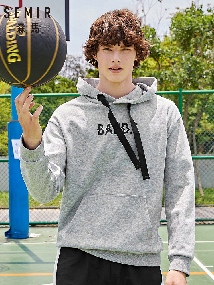 Semir Fashion New Sweatershirt Men Drawstring 2019 Hooded Letter Printing Man Pullover Shirt Hit Color Hoodie Trend Clothes