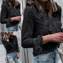Hot Sale Womens Ruffle Long Sleeve Shirt Fall Spring Ladies Long Sleeve Casual B